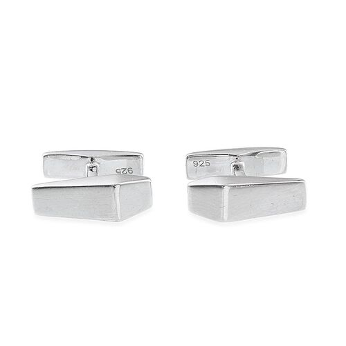 (Option 1) Platinum Overlay Sterling Silver Cufflinks, Silver wt 4.95 Gms.