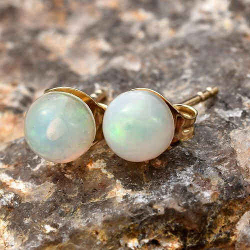 9K Y Gold AAA Ethiopian Welo Opal (Rnd) Ball Stud Earrings (with Push Back) 1.000 Ct.