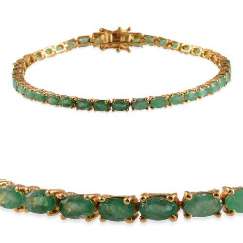 Kagem Zambian Emerald (Ovl) Bracelet in 14K Gold Overlay Sterling Silver (Size 8) 7.500 Ct.