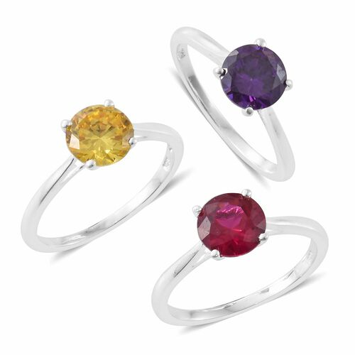 Set of 3 - ELANZA AAA Simulated Amethyst (Rnd), Simulated Ruby and Simulated Yellow Sapphire Solitaire Ring in Sterling Silver
