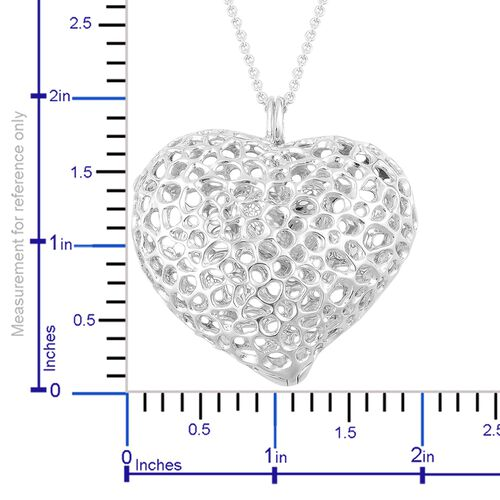 RACHEL GALLEY Platinum Overlay Sterling Silver Amore Heart Lattice Pendant with Chain (Size 30), Silver wt 33.01 Gms.