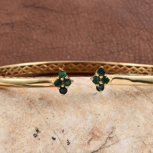 Kagem Zambian Emerald (Rnd) Bangle (Size 7.5) in ION Plated 18K Yellow Gold Bond 0.750 Ct.