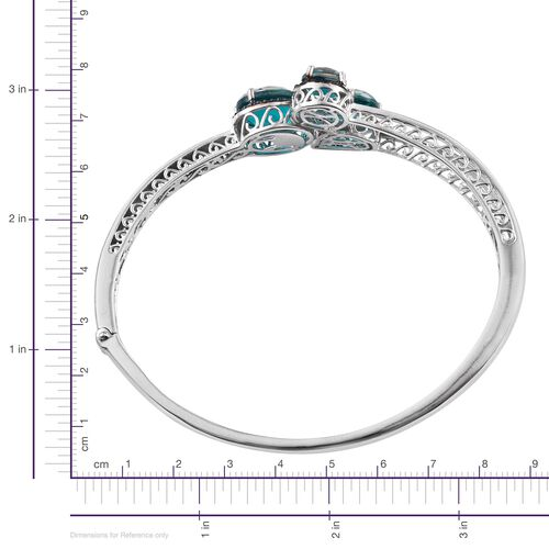 Capri Blue Quartz (Ovl 5.25 Ct), Blue Diamond Bangle (Size 7.5) in Platinum Overlay Sterling Silver 11.020 Ct.