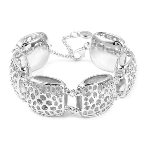 RACHEL GALLEY Rhodium Plated Sterling Silver Memento Diamond Bracelet (Size 8), Silver wt 43.59 Gms.