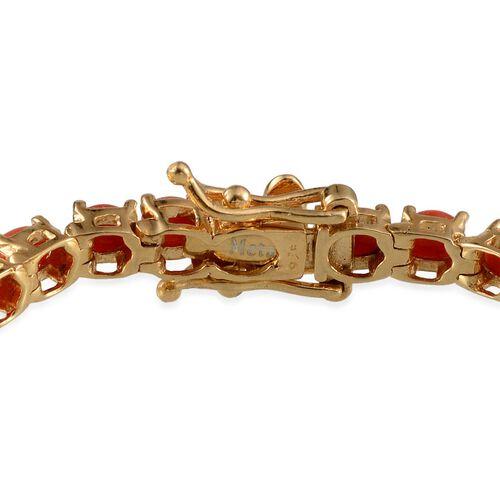 Natural Mediterranean Coral (Ovl) Bracelet (Size 7.5) in 14K Gold Overlay Sterling Silver 6.500 Ct.