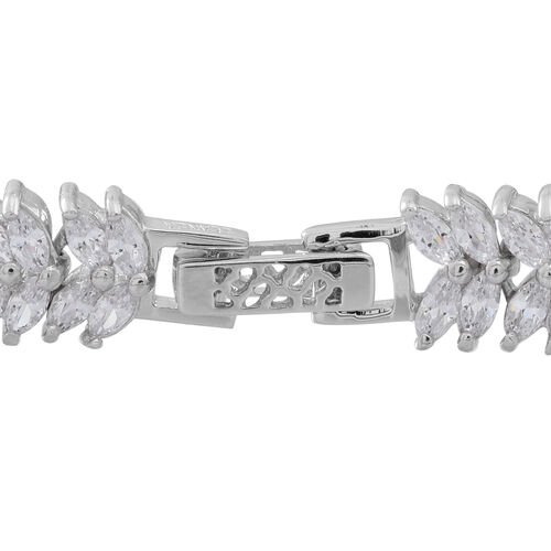 ELANZA AAA Simulated White Diamond (Mrq) Double Strand Bracelet (Size 7.5) in Rhodium Plated Sterling Silver. Silver Wt 17.00 Gms and 144 number of Stones.