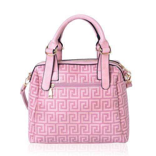 Spring Pink Greek key Pattern Tote Bag with External Zipper Pocket and Adjustable Shoulder Strap (Size 28x26x10.5 Cm)