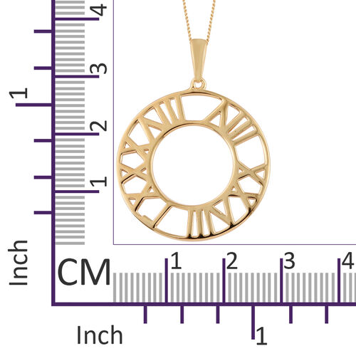 14K Gold Overlay Sterling Silver Roman Number Inspired Pendant With Chain (Size 20), Silver wt 4.47 Gms.