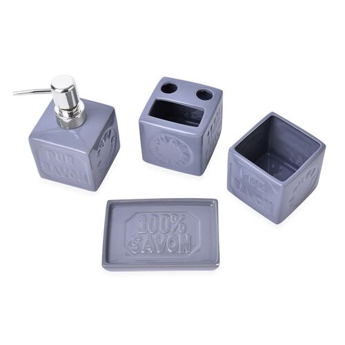 Grey Colour Square Shape Ceramic Bathroom Accessories 1 Toothbrush Holder (Size 8x8 Cm), 1 Tumbler (Size 8x8 Cm), 1 Soap Dish (Size 13x8 Cm) and 1 Lotion Dispenser (Size 15x8 Cm)