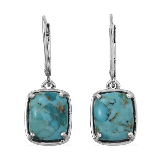 Arizona Matrix Turquoise (Cush) Lever Back Earrings in Platinum Overlay Sterling Silver 6.500 Ct.