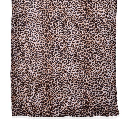100% Mulberry Silk Leopard Pattern Brown Colour Scarf (Size 180x110 Cm)
