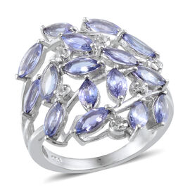 Tanzanite (Mrq), White Topaz Ring in Platinum Overlay Sterling Silver 3.600 Ct.