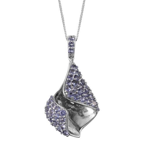 Tanzanite (Rnd) Pendant With Chain in Platinum Overlay Sterling Silver 3.000 Ct.