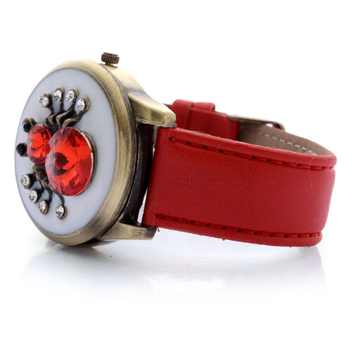 STRADA  Japanese Movement White Dial Red Glass, Black and White Austrian Crystal Water Resistant Watch in Gold Tone With Enameled Spider Cover and Red Strap