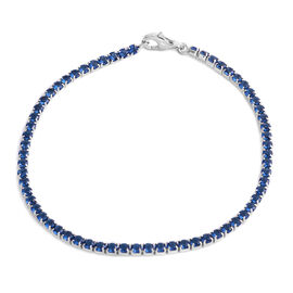 ELANZA AAA Simulated Ceylon Sapphire (Rnd) Bracelet (Size 7.5) in Rhodium Plated Sterling Silver, No. of Stones 65pcs