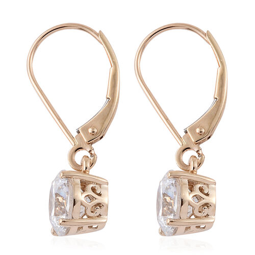 J Francis - 9K Yellow Gold Lever Back Earrings Made with SWAROVSKI ZIRCONIA