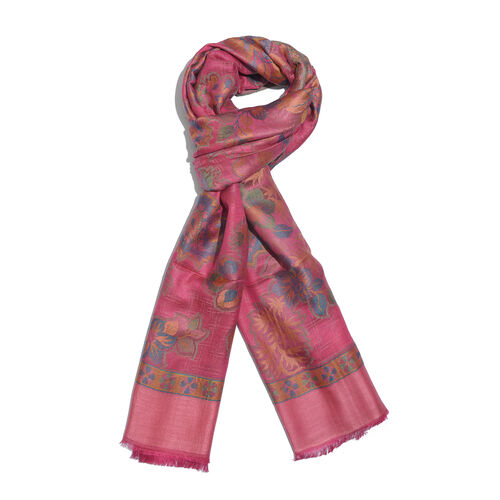 Jacquard Weave Floral and Paisley Pattern Scarf Rose Pink and Multi Colour Patterns (Size 190X70 Cm)