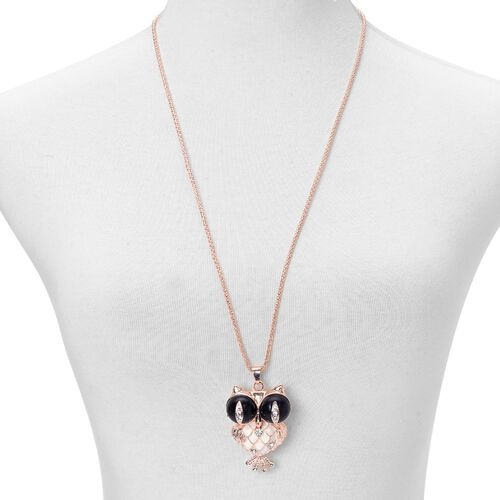 White Austrian Crystal Owl Pendant With Chain in Rose Gold Tone