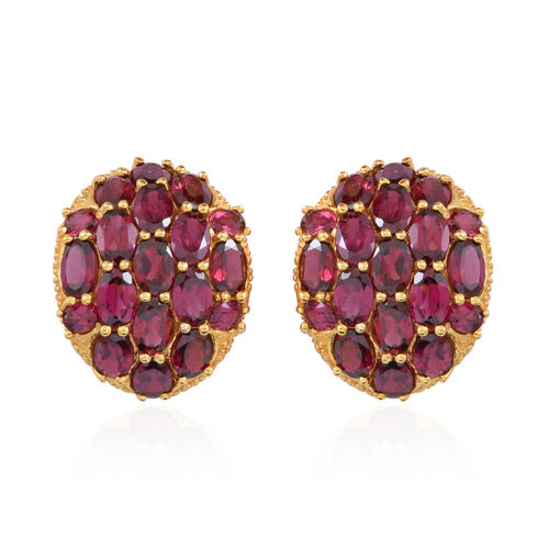 Rhodolite Garnet (Ovl) Stud Earrings (with Push Back) in 14K Gold Overlay Sterling Silver 18.000 Ct.