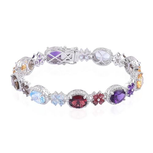 Designer Inspired Sky Blue Topaz (Ovl), Mozambique Garnet, Citrine, Amethyst and Brazilian Smoky Quartz Bracelet (Size 7) in Platinum Overlay Sterling Silver 20.415 Ct.