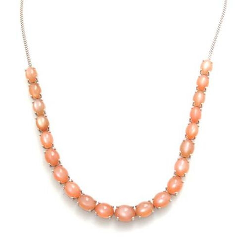 Sri Lankan Pink Moonstone (Ovl) Necklace (Size 18) in Platinum Overlay Sterling Silver 53.250 Ct.
