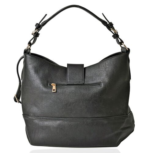 Black Large Tote Bag with External Zipper Pocket and Adjustable and Removable Shoulder Strap (Size 40x30x15 Cm)