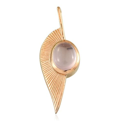 Rose Quartz (Ovl) Leaf Pendant in 14K Gold Overlay Sterling Silver 3.250 Ct.