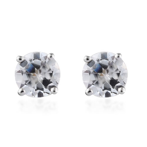 9K White Gold 1.50 Carat Natural Cambodian White Zircon (Rnd) Stud Earrings (with Push Back)