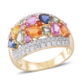 Madagascar Pink Sapphire (0.91 Ct),Orange Sapphire,White Zircon,Green Sapphire,Madagascar Blue Sapphire,Sri LankanYellow Sapphire,Red Sapphire 9K Y Gold Ring  4.350  Ct.
