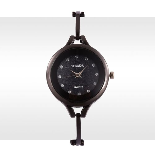 STRADA Japanese Movement Stardust Dial Water Resistant Watch in Black Tone with Stainless Steel Back and Strap