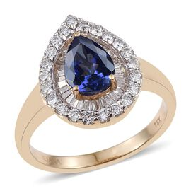 ILIANA 18K Yellow Gold AAA Tanzanite (Pear 1.00 Ct), Diamond Ring 1.650 Ct.