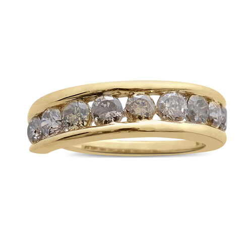 9K Yellow Gold SGL Certified Natural Champagne Diamond (Rnd) (I3) Ring 1.000 Ct.