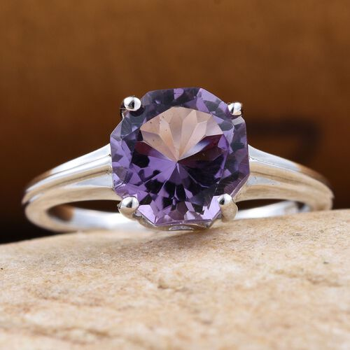 Amethyst (Octillion Cut) Solitaire Ring in Platinum Overlay Sterling Silver 2.000 Ct.