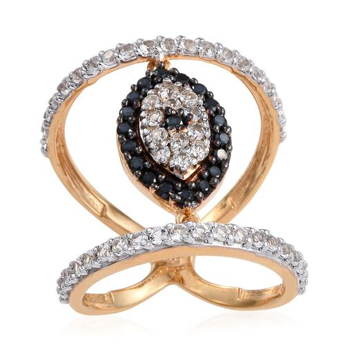 Evil eye Boi Ploi Black Spinel, White Topaz Silver Ring in 14K Gold Overlay 2 Carat.