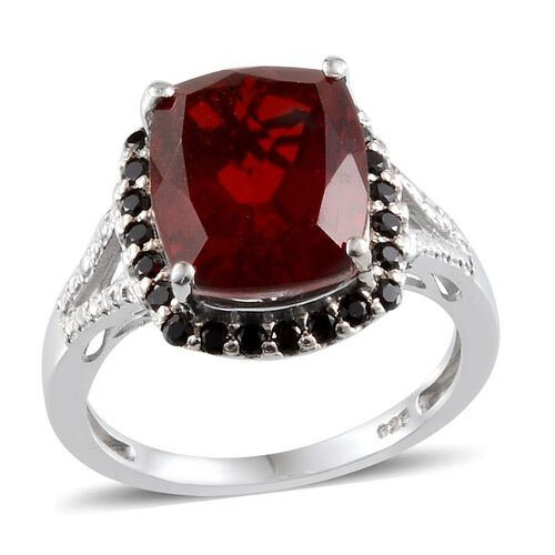 Ruby Quartz (Cush 5.50 Ct), Boi Ploi Black Spinel Ring in Platinum Overlay Sterling Silver 6.000 Ct.