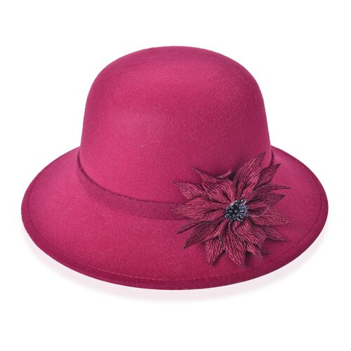 Wine Red Colour Flower Adorned Hat (Size 30X16 Cm)