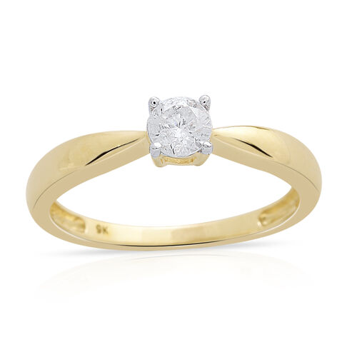 9K Yellow Gold 0.33 Carat SGL Cerfified Diamond I3/G-H Solitaire Ring