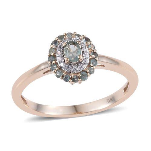 9K Y Gold Narsipatnam Alexandrite (Ovl), Natural Cambodian Zircon Ring 0.500 Ct.