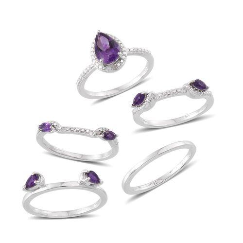 Rhodolite Garnet (Pear 2.25 Ct), Diamond 5 Ring Set in Platinum Overlay Sterling Silver 3.300 Ct.