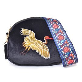 Golden Flying Crane Embroidered Velvet Crossbody Bag with Colourful and Removable Shoulder Strap (Size 20X17X3.5 Cm)