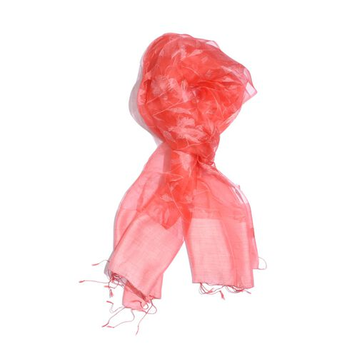 100% Mulberry Silk Pink and Red Colour Floral Pattern Scarf (Size 180x50 Cm)