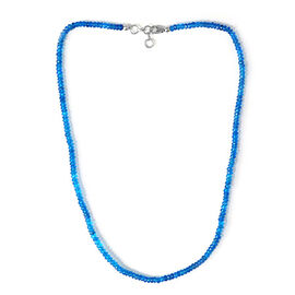Malgache Neon Apatite Beads Necklace (Size 18) in Sterling Silver 43.400 Ct.