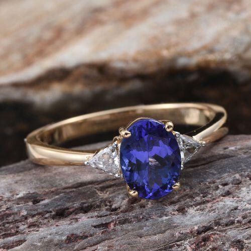 ILIANA 18K Yellow Gold AAA Tanzanite (Ovl 1.30 Ct), Diamond (SI/G-H) Ring 1.50 Ct.
