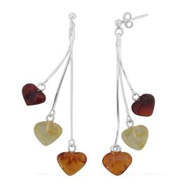 Limited Edition - Tucson Collection Baltic Amber Multi Rare Cut Heart Earrings (with Push Back) in Sterling Silver 6.000 Ct.