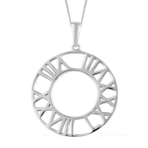 Platinum Overlay Sterling Silver Roman Number Inspired Pendant With Chain(Size 18), Silver wt 4.38 Gms.