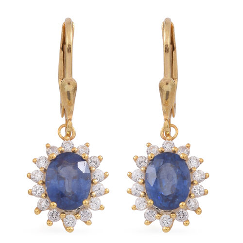 Masoala Sapphire (Ovl), Natural Cambodian White Zircon Lever Back Earrings in 14K Gold Overlay Sterling Silver 4.250 Ct.