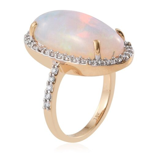 Collectors Edition - ILIANA 18K Yellow Gold AAAA Ethiopian Welo Opal (Ovl), Diamond (SI/G-H) Ring 10.700 Ct.Gold Wt 7.50 Gms