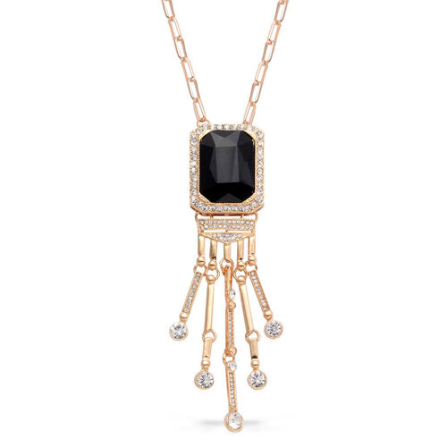Black Glass and White Austrian Crystal Necklace (Size 32) in Gold Tone