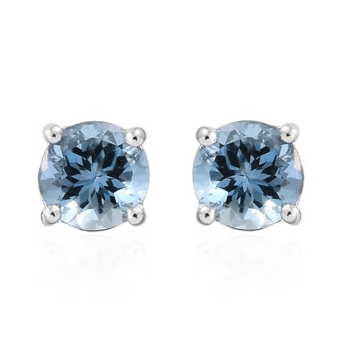 ILIANA 18K White Gold 0.90 Carat AAA Santa Maria Aquamarine (Rnd) Stud Earrings (with Screw Back)