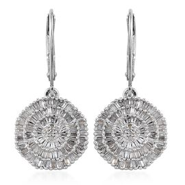 Diamond (Bgt and Rnd) Lever Back Earrings in Platinum Overlay Sterling Silver 1.005 Ct. Number of Diamonds 242
